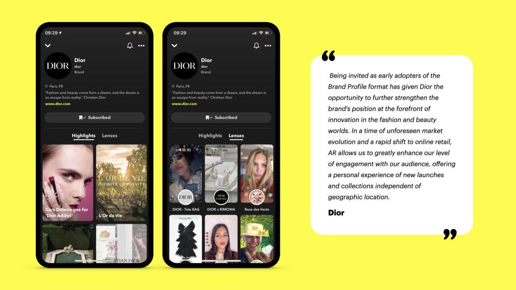 brand profile Dior sur Snapchat, format webmarketing en bêta - veille secteur Atchik