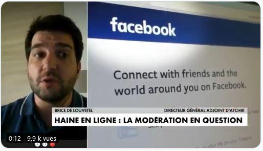 capture de l'Interview de Brice Le Louvetel pour Atchik sur CNEWS, le 24 octobre 2020, à propos de la modération des contenus haineux