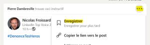 """Système de marque-page Linkedin, disponible avec le bouton """"enregistrer"""""""